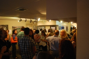 Art & Words: lots of people squeezed into one little gallery