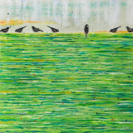 Laura Hunt--Birds On A Wet Lawn