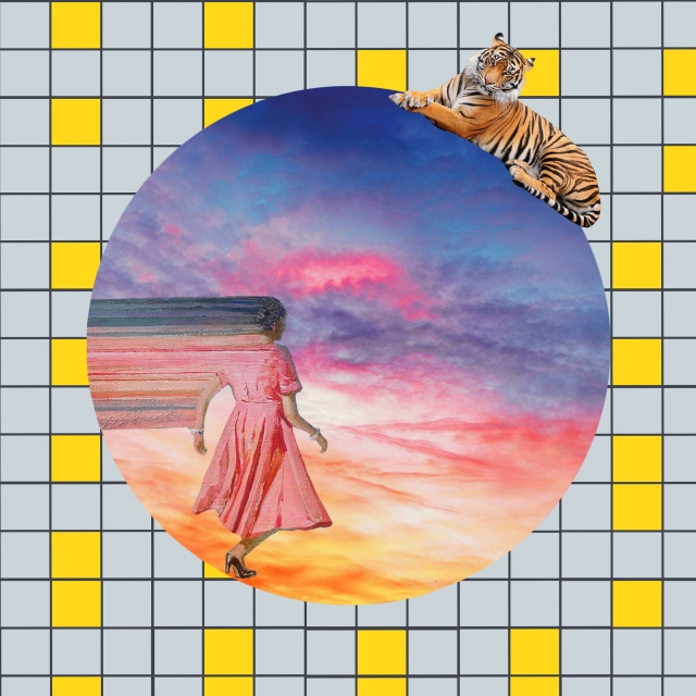 Art: collage of woman in pink dress walking into a sunset with a tiger perched on top of a circle